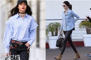 女生天蓝色衬衫怎么搭配好看