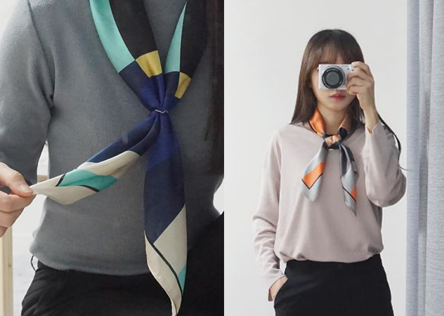 春夏领巾穿搭的N种方法图片