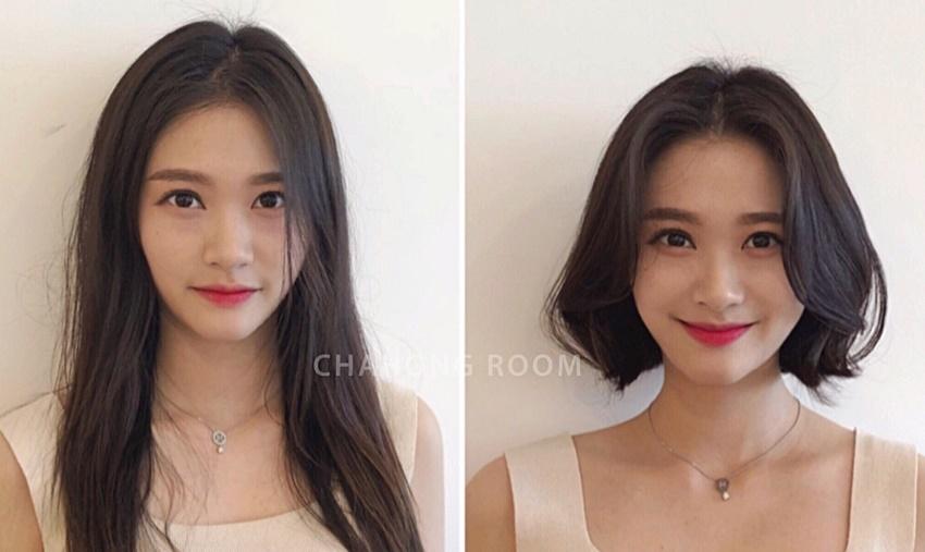 长发剪短发对比图片 剪完短发心情美美哒