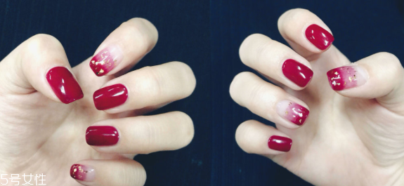 秋季车厘子红美甲款式 让指尖温柔似水