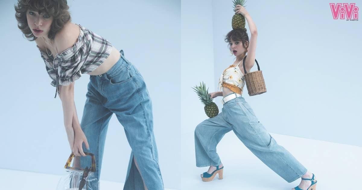 牛仔宽腿裤怎样搭配 法式甜美女孩风