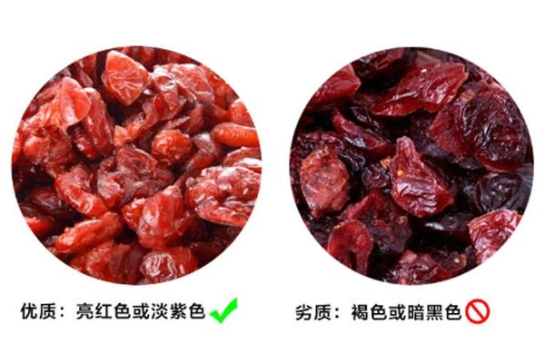 蔓越莓干是什么颜色 劣质货呈褐色或暗黑色