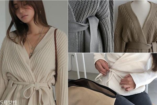 腰带针织衫搭配图片 腰带针织衫怎么穿好看