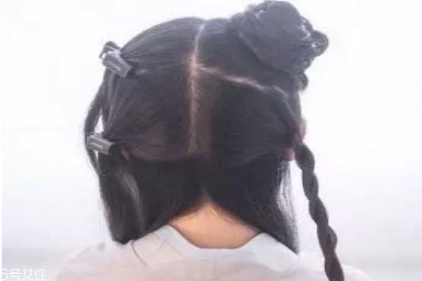 短发古代编发发型图片
