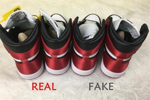 aj1红丝绸真假对比 aj1红丝绸黑脚趾真假鉴定